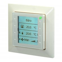 Room unit for KNX PL-Link, freely configurable, flush-mounted with square bezel